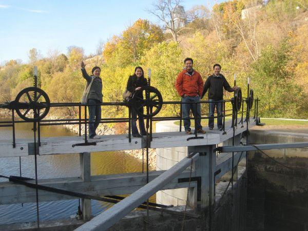 on canal bridge