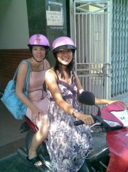 2 pink helmets