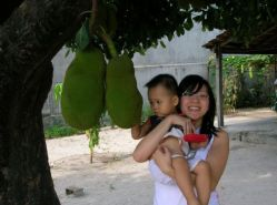 baby, me, and a jackfruit tree