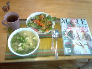 miso, frilly greens with grapefruit and vogue!